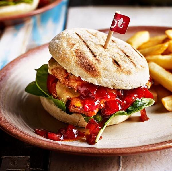 A delicious looking burger and chips from nando's Ireland