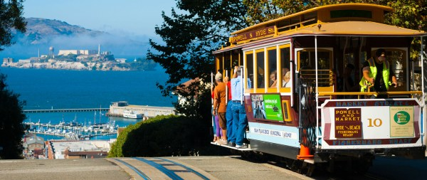 A tram going down a hill in san fran