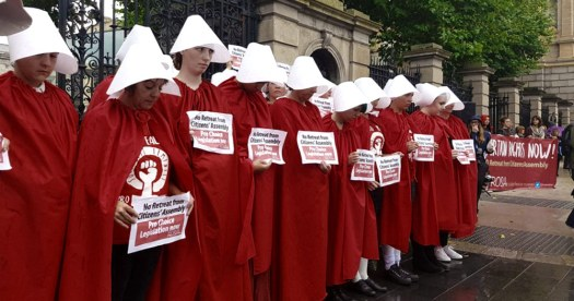 Repeal campaigners dressed as handmaids from the handmaid's tale