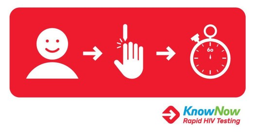 The KnowNow Rapid HIV Testing logo with a diagram showing a person a finger being pricked and a stopwatch