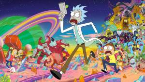 Rick and Morty running from lots of aliens