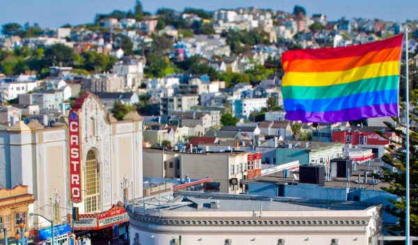 The castro with a rainbow flag in san fran