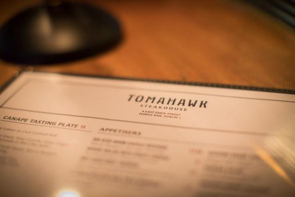 The Tomahawk steakhouse menu