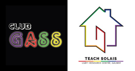 Club Gass logo on black background beside the teach solos logo and a house on the right against a white background