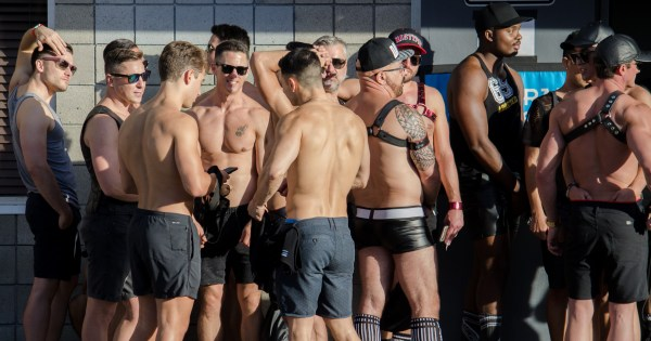 A group of topless muscled men in shorts at the Folsom Street Fair