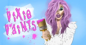 A cartoon drawing of pixie woo in a purple wig holding a paintbrush with the words pixie paints beside her in pink