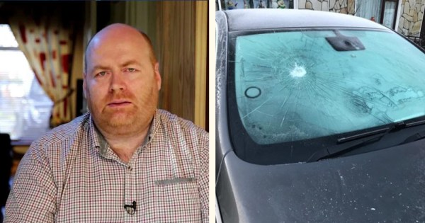 Timmons is shown on the left and a photo of his damaged car is shown on the right in a split screen image.
