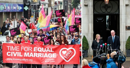 "On the left, love equality campaigners are shown with a banner that reads ""Time for equal civil marriage"" on the right Karen Bradely and Simon Coveney hold a press conference outside Stormont announcing that talks will resume"