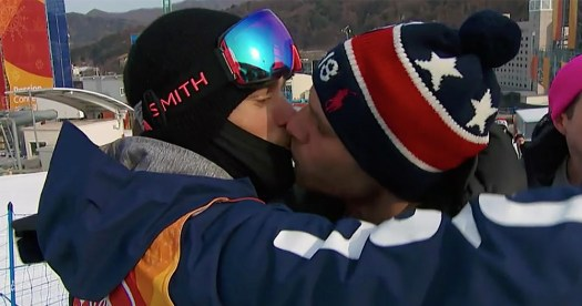Gus Kenworthy kisses his boyfriend at the Winter Olympics
