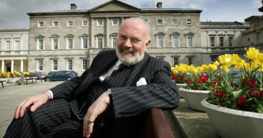 David Norris sitting outside the Dáil