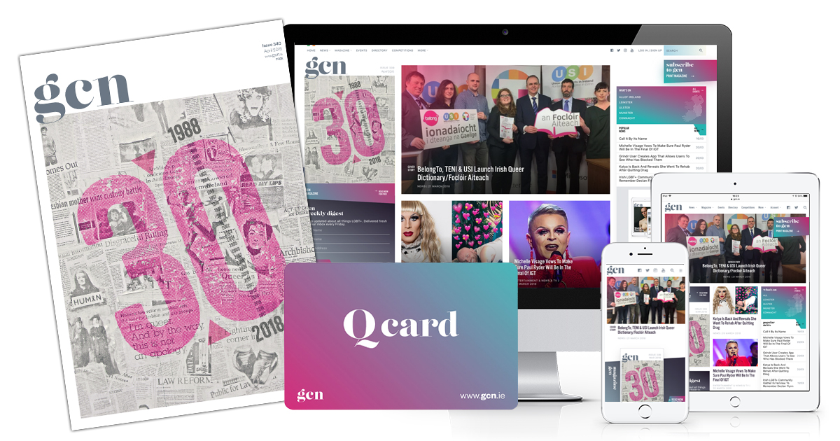 GCN magazine, a Q card and the website as part of queer gifts for 2019