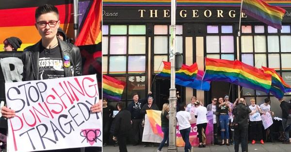 Queer protesters demonstrating outside The George Bar
