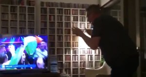 Superfan Martin Jones leaping in excitement at Ireland's Eurovision qualification