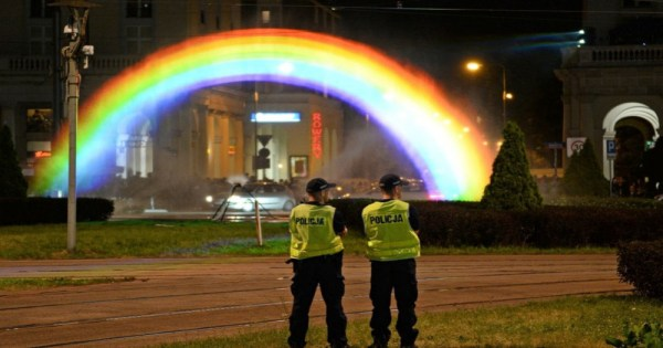 Warsaw Rainbow made of water vapor and lights