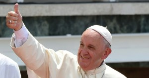 Pope Francis giving a thumbs up
