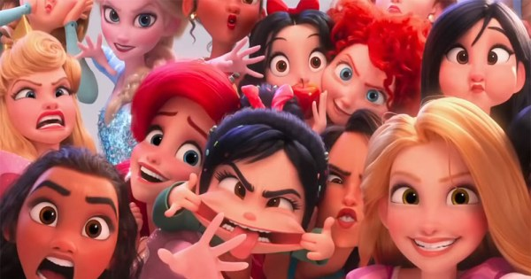 A group of Disney princesses including Mulan, Moana, Snow White and Rapunzel make funny faces at the viewer