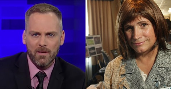 A split screen picture of journalist Chadwick Moore and politician Christine Hallquist who he accused of having transgender privilege