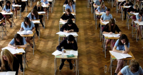 A hall of students sitting their A-level exams