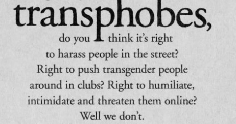 The text of the billboard addressing transphobia.