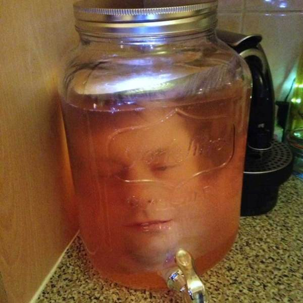 Head in a jar used as prop for a Halloween party