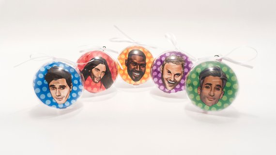 Queer Eye fab 5 christmas tree baubles available as a queer gift on etsy