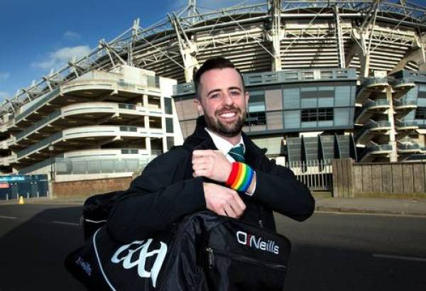 Inter County ref David Gough sporting a rainbow wristband outside Croke Park ahead of Marriage Equality referendum in 2015