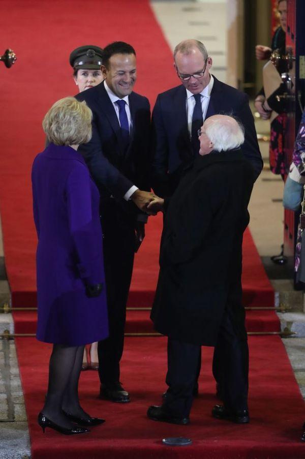 Michael D with taoiseach Leo Varadkar at Dublin castle