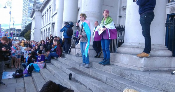Trans protest by Trans Pride Dublin, who will be marking transgender day of remembrance