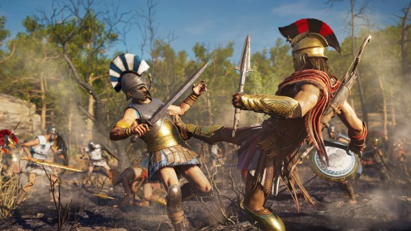 Still from Assassin's Creed Odyssey where one character is kicking another