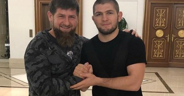 UFC fighter Khabib Nurmagomedov shakes hands with Ramzan Kadyrov