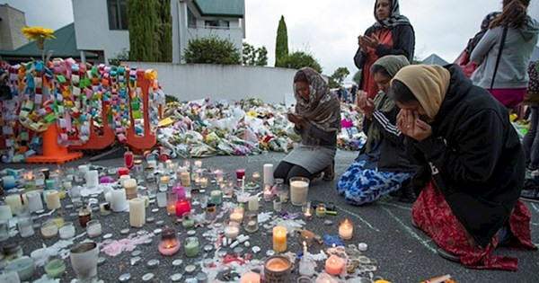 Demonstrators mourning the New Zealand attacks against which Calling All Allies are taking a stand