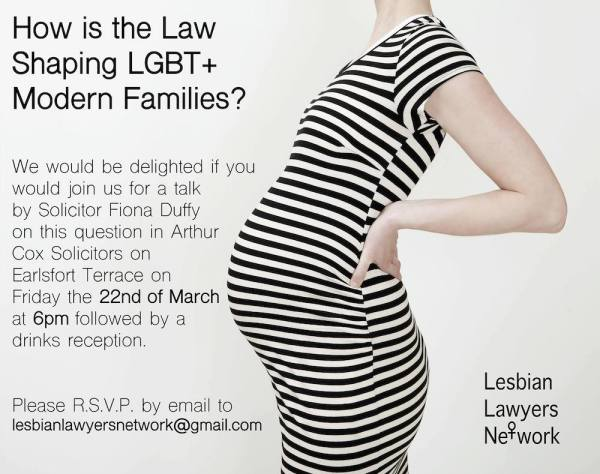 Lesbian Lawyers Network To Host Information Evening On Irish Law And LGBT+ Families