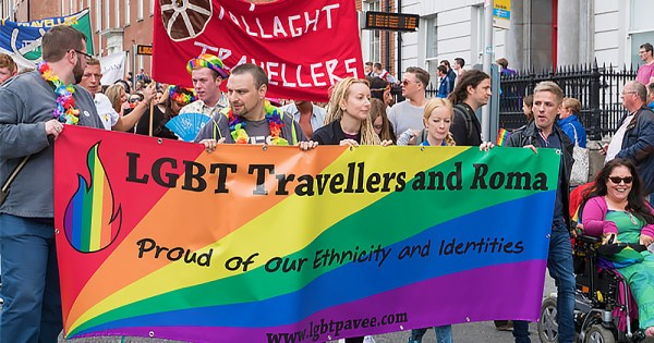 LGBT Travellers and Roma group celebrate Traveller Pride by marching in Dublin Pride