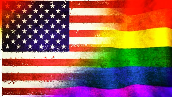 US flag with Pride colours enveloping it from right hand side.