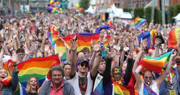 Crowd at Dublin Pride. This year's Festival theme is Rainbow Revolution