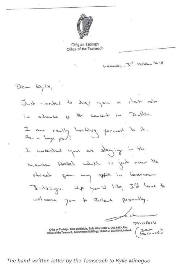 Leo Varadkar's fan letter to Kylie Minogue