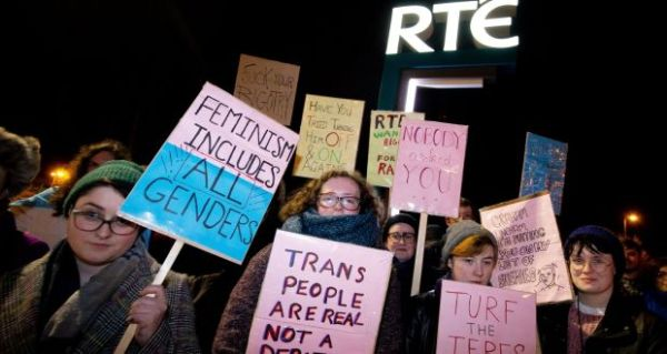 Linehan claims that he is not transphobic, but protesters gathered outside RTÉ to demonstrate against his inclusion on Prime Time. Pictured are some of these protestors.