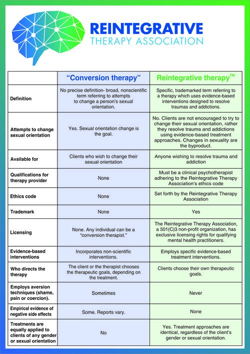 A graphic explaining the forms of conversion therapy used by practitioners to evade legal bans