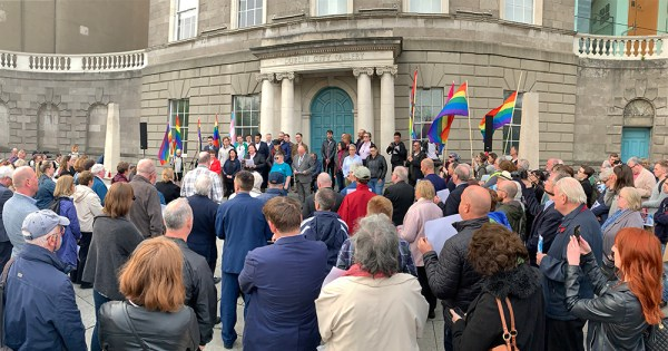 Crowds attending the vigil for Lyra McKee