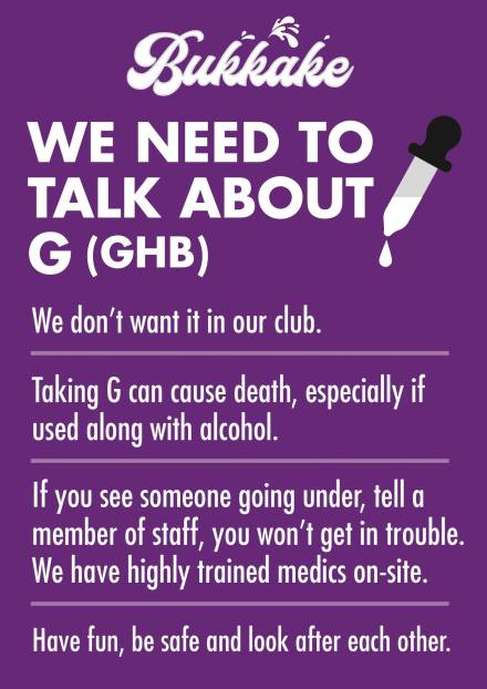 A poster for Bukkake club night talking about the dangers of GHB