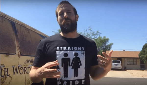Pastor Steven Anderson wearing a Straight Pride t-shirt