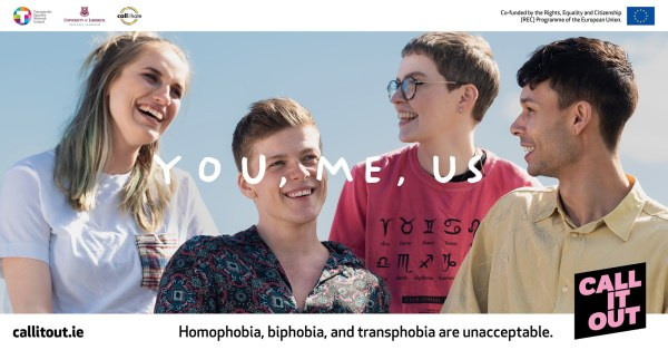A poster for the Call It Out campaign featuring four young people laughing and hanging out