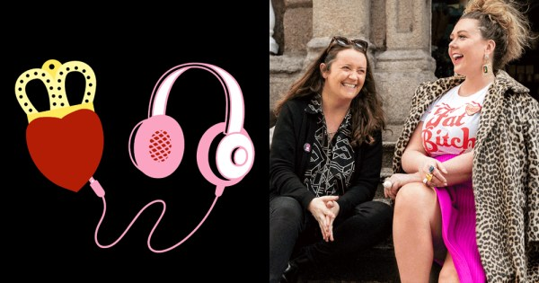 Split screen of United Ireland podcast logo, Una Mullally and Andrea Horan sitting on steps while laughing