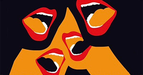 Poster for Revolting Women - An Illustration of five gaping mouths against a black and yellow background