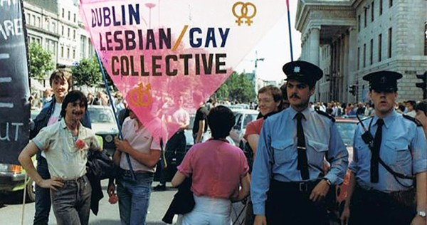 Protesters holding a banner which reads Dublin Lesbian and Gay Collective. This week marks the 40th anniversary of Ireland's first Pride Week,