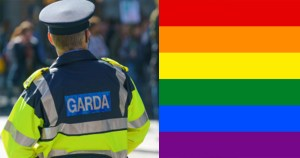 garda adjacent to rainbow flag