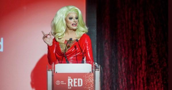 Panti Bliss gives speech at podium at Red Ball