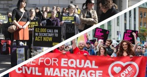 People standing up for their right to same-sex marriage and abortion in Northern Ireland. Image courtesy of Amnesty International NI Twitter.