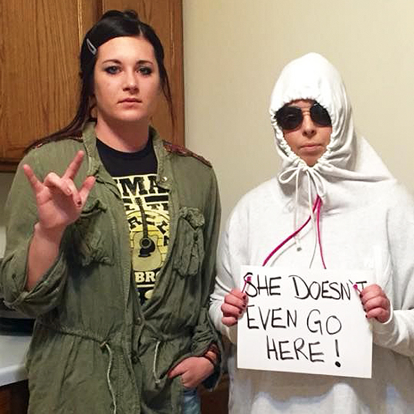 Two women dressed up as characters from Mean Girls
