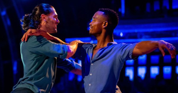 A clip of Strictly Come Dancing featuring two men dancing on stage